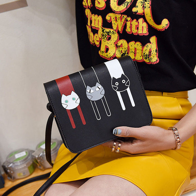 Cartoon Cats Crossbody Small Cute Flap Bag