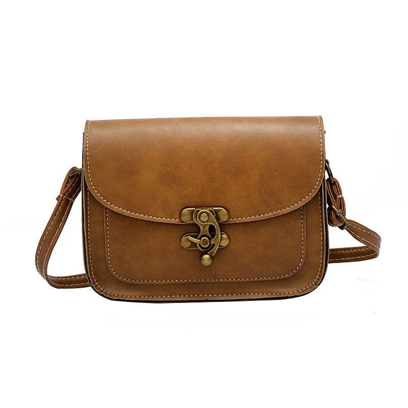 Vintage  Lock Crossbody Messenger Handbag