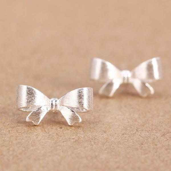 Tiny Cute Bow .925 Sterling Silver Earrings