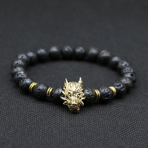 Wolf Head Rock Energy Handmade With Natural Lava Rock Bracelet