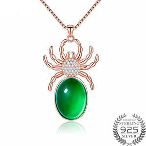 Elegant Real Chalcedony Spider Necklace .925 Sterling Silver - Rose Gold Plated