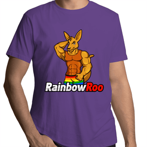 Gay T-Shirt | #RainbowRoo Muscled Roo Male - RainbowRoo