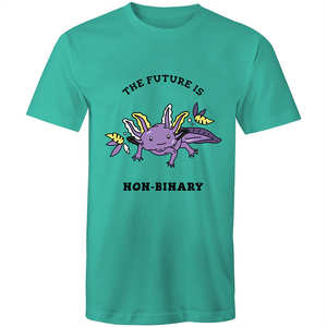 Non-Binary T-Shirt | The Future is Non-Binary Axolotl Unisex - RainbowRoo