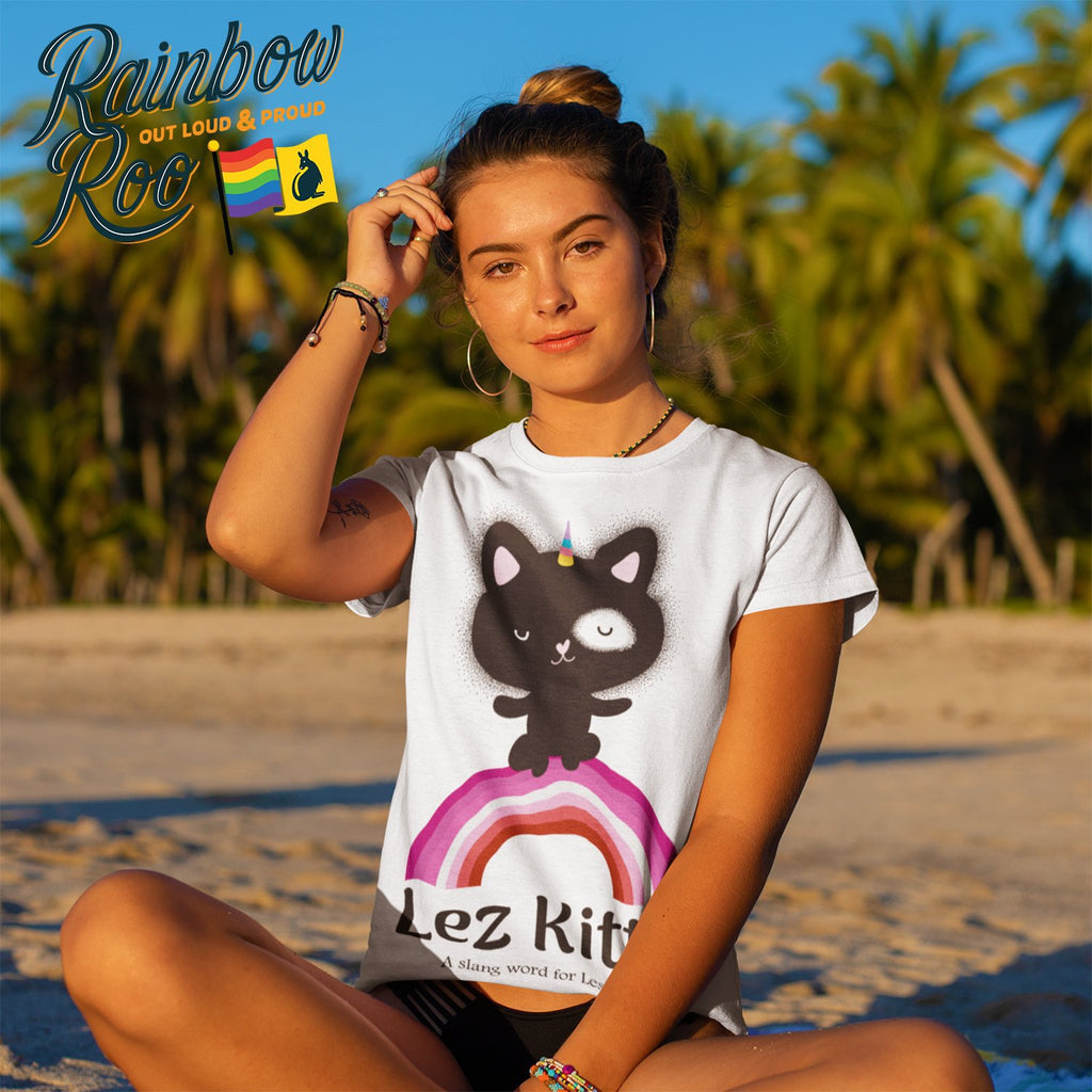 Lesbian T-Shirt | Dicktionary Lez Kitty - RainbowRoo