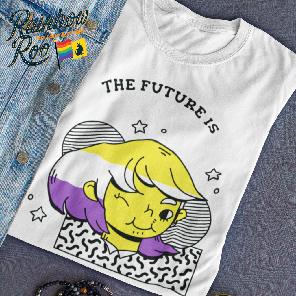 Non-Binary T-Shirt | The Future is Non-Binary Human Unisex - RainbowRoo
