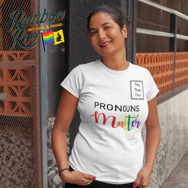 #Pronouns Matter - They Them Their Unisex T-Shirt - RainbowRoo