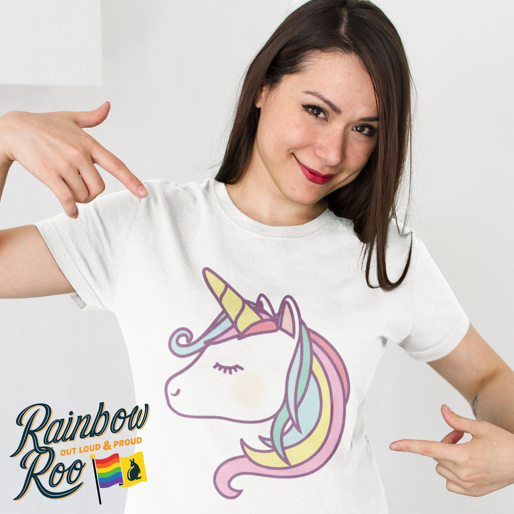Lesbian T-Shirt | Rainbow Unicorn Female - RainbowRoo