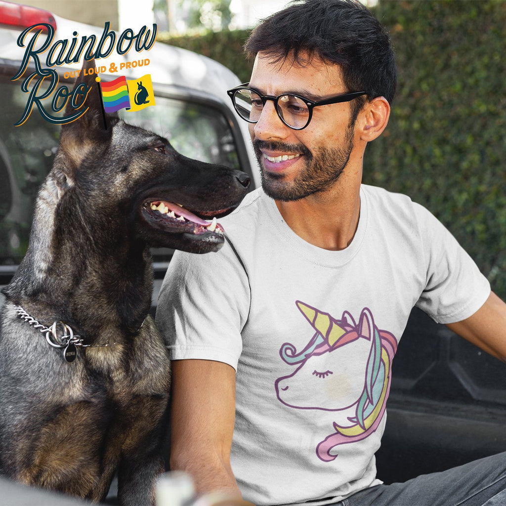 Gay T-Shirt | Rainbow Unicorn Male - RainbowRoo