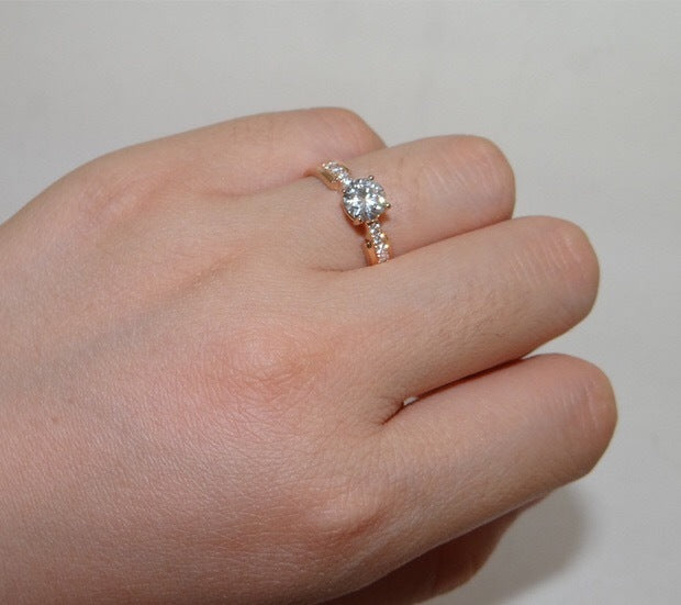 9dfe7a8694f29 ENGAGEMENT RING: MOISSANITE DIAMOND 0.5 CT. PINK GOLD DIAMOND 18K ORDER RING