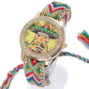 Frida Geneva Watch Women vintage Mexican Mariachi Ethnic Rhinestone Style dial Fashion wristwatch Lace Gold Chain Braid Reloj