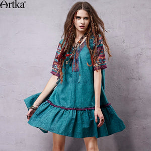 Artka Women's Summer New Mexico Series Ethnic Printed Loose Style Dress Vintage V-neck Short Sleeve Comfy Dress LA15057X