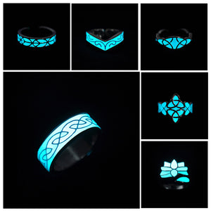 Black Friday Night Light Glowing Stone Rings Mayan