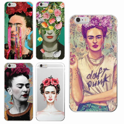 Mexican Frida Kahlo Artist Art Floral Flower Soft Phone Case Fundas For iPhone 7 7plus 6 6S 6Plus 5 5S SE  8 8Plus X SAMSUNG