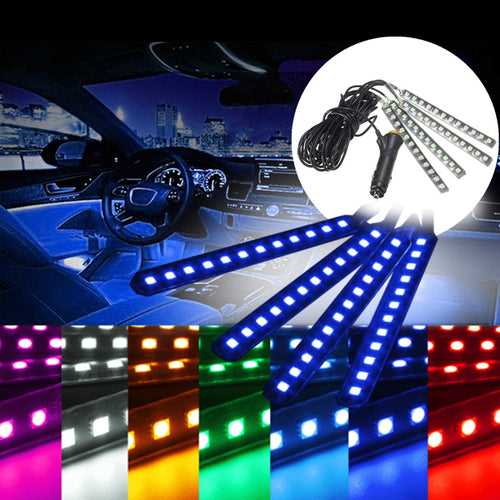 4x Waterproof IP65 14.4W 5050smd LED Car Auto Atmosphere Lights 12 LED Car Interior Strip Flexible Neon Lights Lamp Bar DC12V
