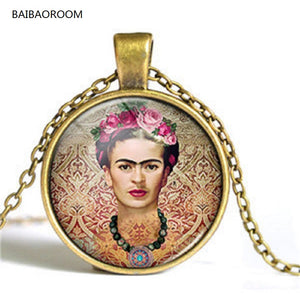 Mexico painter Frida Kahlo self-portraits folida time gem short necklaces wholesale