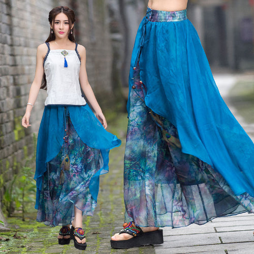 Vintage 70s ethnic long two layers asmmetrical print wide leg pant 2017 women summer Mexico style ethnic print trousers capris