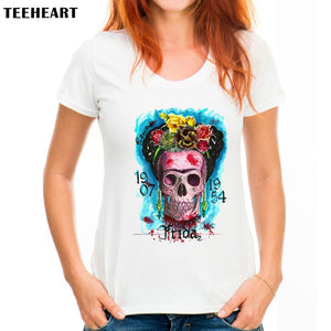 TEEHEART 2017 New Fashion Women T shirt Frida Kahlo Print Mexican Skull  Harajuku Character Top Tees px097