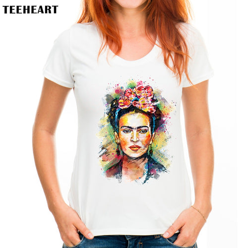 TEEHEART Women Frida Kahlo Print T shirt Funny Personalized Short Sleeve Round Neck Sugar Skull Top Tees px098