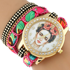Gnova Platinum TOP Large Strap BIG Dial Ethnic lace mexican Rhinestone Frida roses crown Fashion woman wristwatch bracelet watch