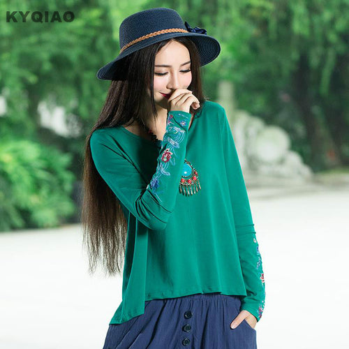 KYQIAO Mexico style ethnic embroidery asymmetrical blouse shirt 2017