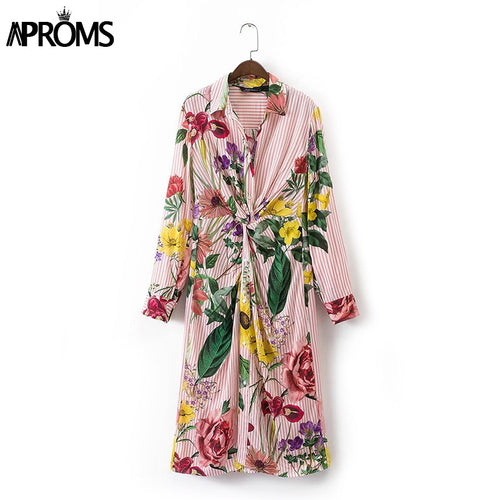 Aproms Gypsy Tie Front Boho Flower Print Shirt Dress Women 2017 Long Sleeve Summer Dress Casual Streetwear Cool Dresses Vestido