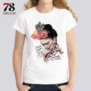 frida kahlo Hot Sale T Shirt Women 2017 Summer Printed Short Sleeve T-shirt Female Plus Size Tshirt Tops Tee Shirt Femme