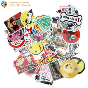 50pcs Mixed Car Reflective Stickers Decals Waterproof Skateboard Home Decor Luggage Laptop Motorcycle Bike DIY Vinyl Sticker