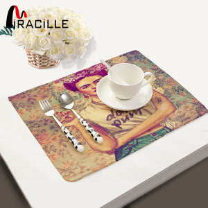 Miracille 2/4/6pieces Set Placemats Frida Kahlo Printed Home Decorative Table mat kitchen table mats Table Napkin