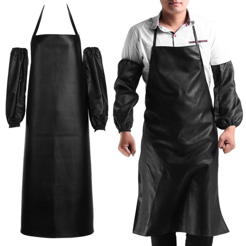 Hot Mens Womens Convenient Faux Leather Chef Apron Waterproof Kitchen Cafe Commercial Restaurant Cooking Aprons + Cuff