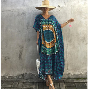 Thailand Indonesian Style Women Loose Casual Dress Robes Fashion Floral Print Summer Style Short Batwing Sleeve Maxi Long Dress