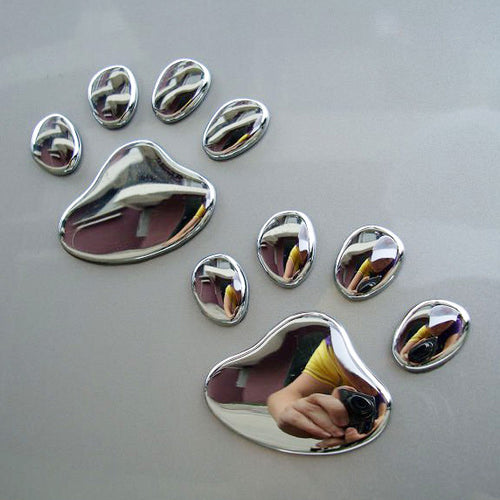 1 Pair Decals Decoration Auto Motorcycle Sticker Cute Bear Dog Animal Paw Foot Print Silver Car-styling 3D Paw Car Sticker