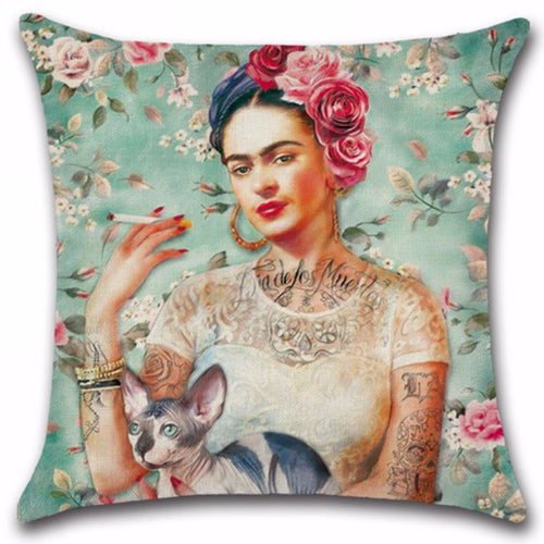 2017 New Vintage Cotton Linen Frida Kahlo Throw Pillow Case Cover Car Waist Mayitr Home Decor