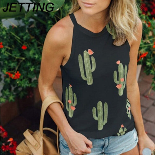 Sexy Fashion T-Shirt Sleeveless Print Green Plant Cactus T Shirt Women Top Tees Female Summer Beach Casual tshirt Cotton