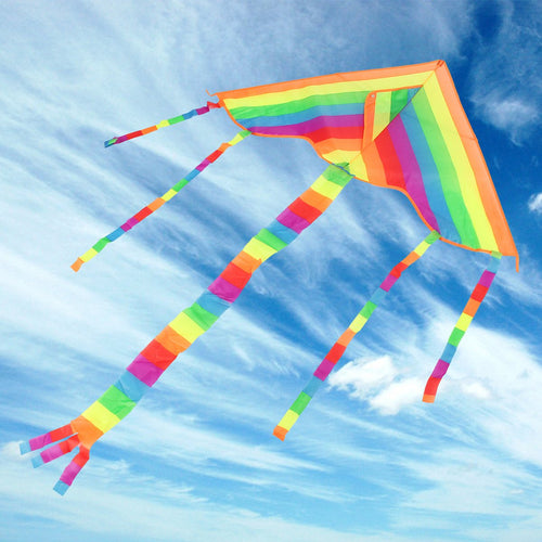 Rainbow Triangle Flying Kite Outdoors Sports Fun Kid Toy Gifts Air Fly Colorful Kites Children Triangle Color Kite Easy Fly