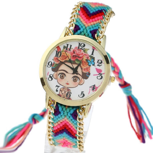 Gnova Platinum Ethnic Women Watch Frida Teddy Bear Golden Chain Braided Bracelet Fashion quartz wristwatch Reloj para dama A855