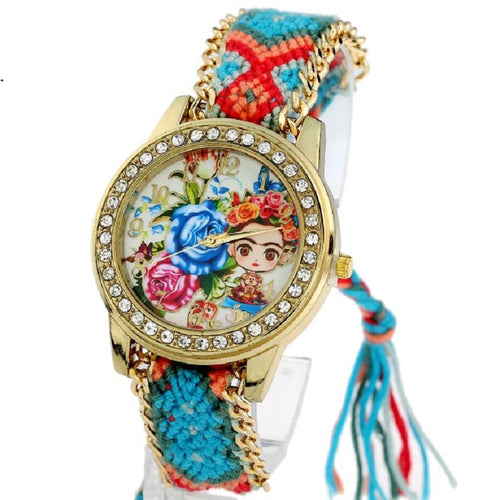 Gnova platinum Watch Women vintage Frida Blue Roses Rhinestone Style dial Fashion wristwatch Lace Gold Chain Braid Reloj