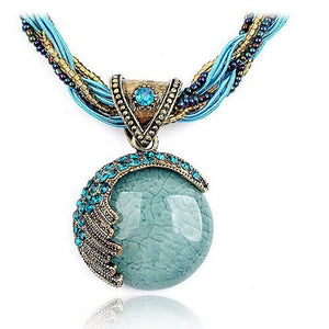 Bohemian Jewelry Statement Necklaces Women Rhinestone Gem Pendant Collar
