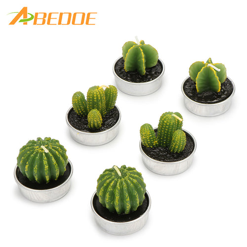 6PCS/Set Home Decor Rare Cactus Candle Table Tea Light Home Garden Simulation Plant Candle Wedding Birthday Decoration