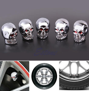 Motorcycle Styling 5Pc Skull Tire Tyre Wheel Car Auto Valves Caps Dust Stem Cover Motocycle Bicycle