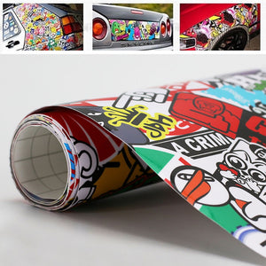 "Car 20"" x 30"" Rock Panda Cartoon Graffiti Sticker Bomb Wrap Sheet Decal Sticker"