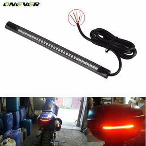 Universal Flexible LED Motorcycle Brake Lights Turn Signal Light Strip 48 Leds License Plate Light Flashing Tail Stop Lights
