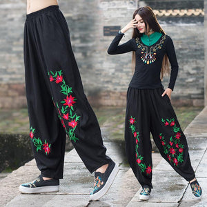 Femme pantalones mujer trousers women mother autumn spring Mexico style ethnic vintage long black flowers embroidery pant