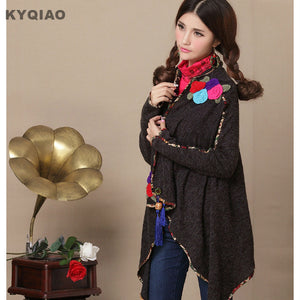 KYQIAO Christmas sweater women cardigan female autumn winter Mexico style long sleeve floral appliques knitwear outwear