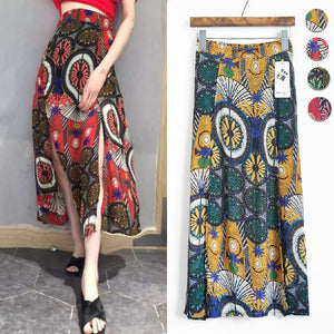 Mexico boho ethnic long red yellow green geometric print maxi skirt 2017 women spring summer vintage pop slit skirt  longuette