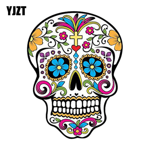 YJZT 10.2CM*13.5CM MEXICAN SUGAR SKULL Reflective Car Sticker Car Window Motorcycle Parts C1-7079