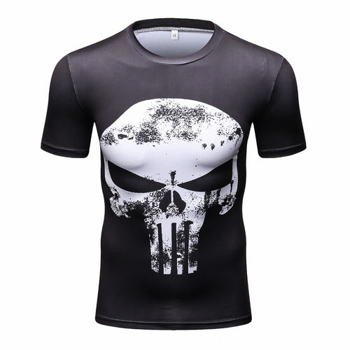 Punisher 3D Printed T-shirts Men Compression Shirts short Sleeve Cosplay Costume crossfit fitness Clothing Tops Male Black Frida