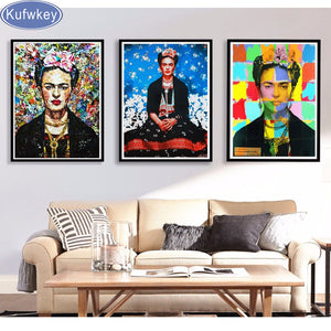 3 pcs 5d diy diamond painting Frida Kahlo cross stitch full square diamond embroidery diamond mosaic pattern home decor,stickers