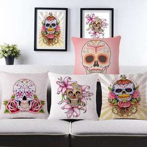 Flower Punk Style Mexico Skull Cotton Linen Cushion Cover