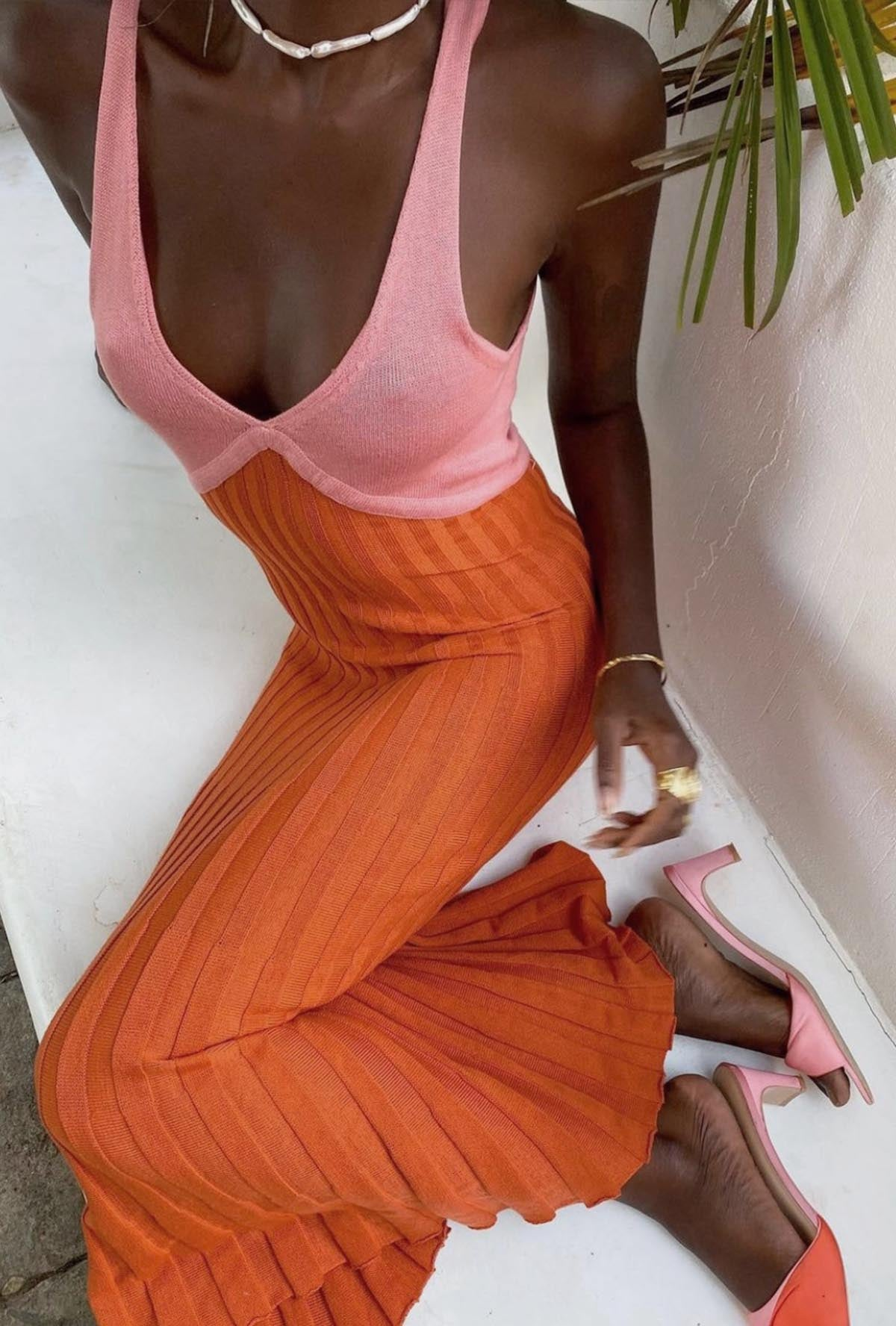 TAMIKA DRESS - CORAL BLOCK
