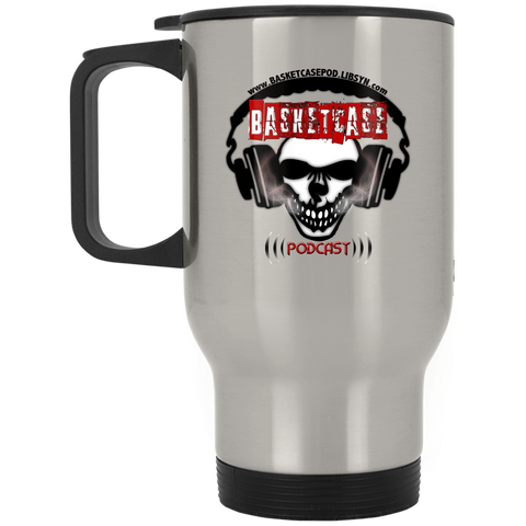 Basketcase Podcast  Silver Stainless Travel Mug
